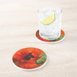 Red Oriental Poppy  Floral Coaster