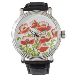 Red Oriental Poppy Flowers Watch