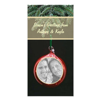 Red Ornament Dangling On Branch Photo Holiday Card