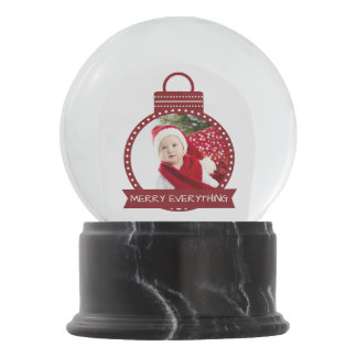 Red ornament photo template snowglobe