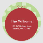 Red Ornament Polka Dots Christmas Address Label
