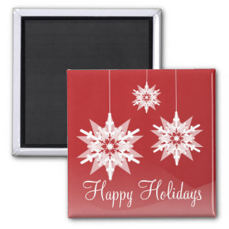 Red Ornament Snowflakes Holiday Magnet