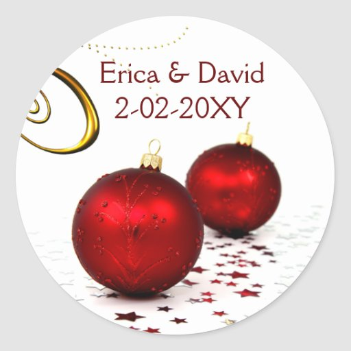 red ornament  winter wedding stickers