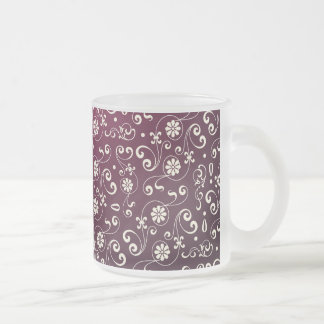 Red ornamental Pattern Frosted Glass Mug