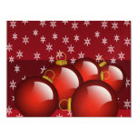 Red Ornaments Christmas Invitations