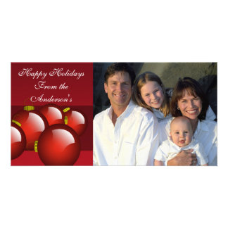 Red Ornaments on Deep Burgundy Wine Card