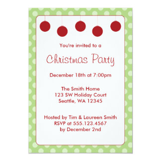 Red Ornaments Polka Dots Christmas Holiday Party Card