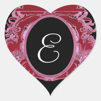 Red Ornate Vintage Frame Any Initial Monogram V03 Heart Sticker