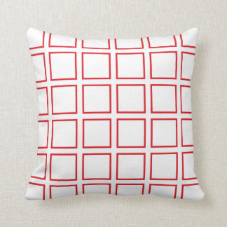 Red Outlined Squares Throw Pillow