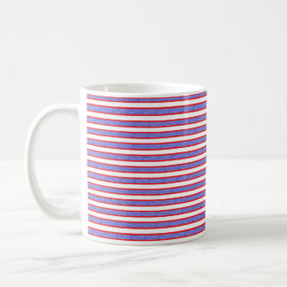 Red Outlined Static Blue Stripes Coffee Mug