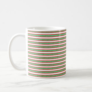 Red Outlined Static Green Stripes Coffee Mug