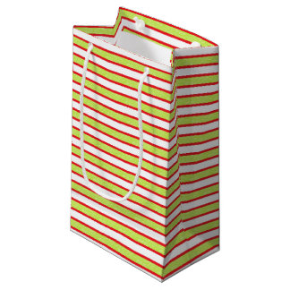 Red Outlined Static Lime Green Stripes Small Gift Bag