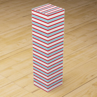 Red Outlined Static Pastel Blue Stripes Wine Box