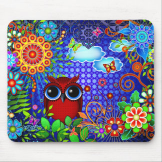 Red Owl and Flowers Art Mousepad