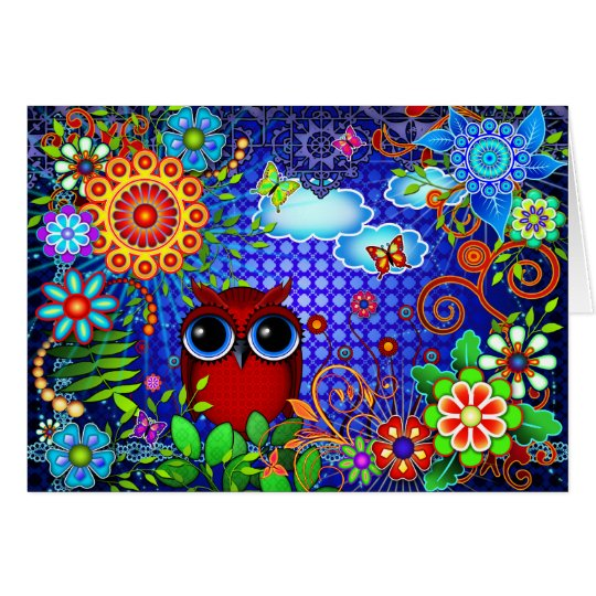 Red Owl and Flowers Bird Art Greeting Card