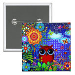 Red Owl and Flowers Bird Art Pin Back Button