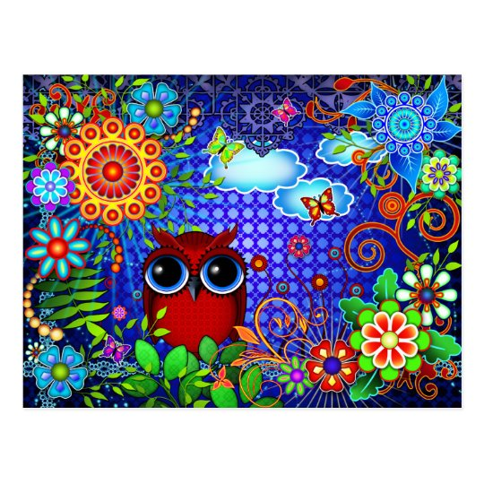 Red Owl and Flowers Bird Art Postcard