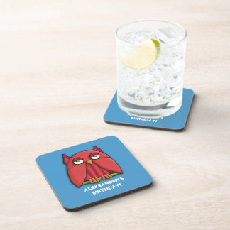 Red Owl aqua Birthday Cork Coaster