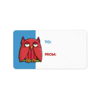 Red Owl aqua Gift Tag Sticker Address Label