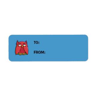 Red Owl aqua small Gift Tag Sticker Return Address Label