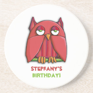 Red Owl Birthday Coaster