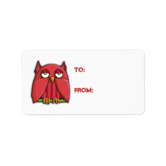 Red Owl Gift Tag Sticker Address Label