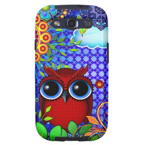 Red Owl on Blue Galaxy S3 Case