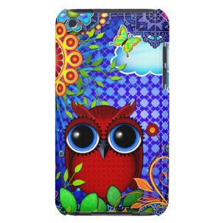 Red Owl on Blue iPod Touch Case-Mate Case
