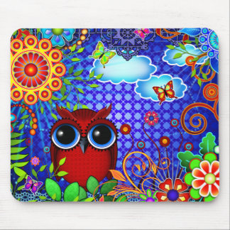 Red Owl on Blue Mouse Pad