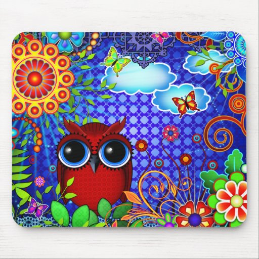 Red Owl on Blue Mousepad