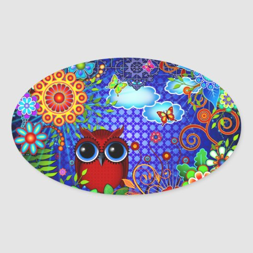 Red Owl on Blue Sticker