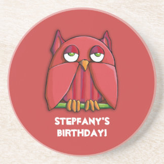 Red Owl red Birthday Coaster