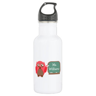 Red Owl Teacher At Chalkboard 532 Ml Water Bottle