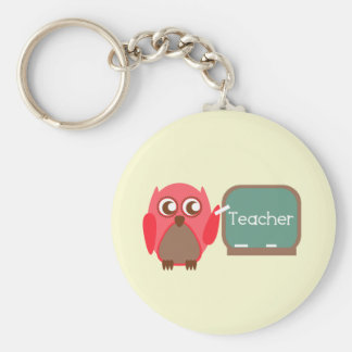 Red Owl Teacher At Chalkboard Key Ring