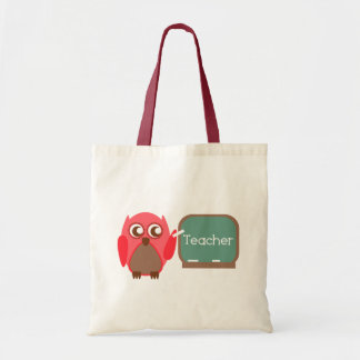 Red Owl Teacher At Chalkboard Budget Tote Bag