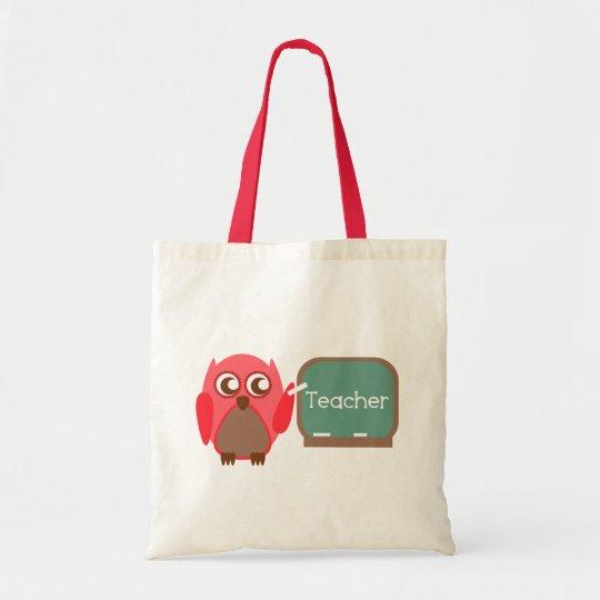Red Owl Teacher At Chalkboard Tote Bag