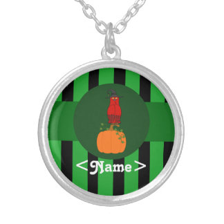 Red Owl with Pumpkin & Green Stripes Round Pendant Necklace