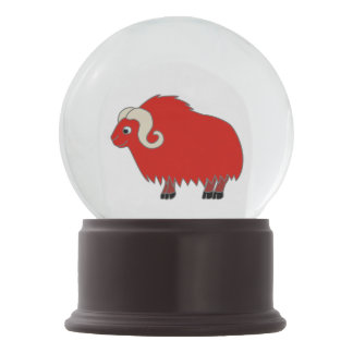 Red Ox with Curled Horns Snow Globe