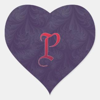Red 'P' on purple embossed effect 3D fractal. Heart Sticker