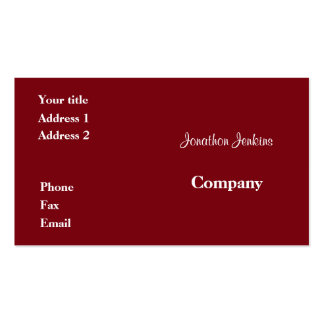 Red Pack Of Standard Business Cards