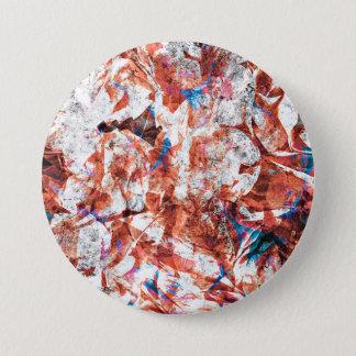 Red paint brush abstract modern digital art 7.5 cm round badge