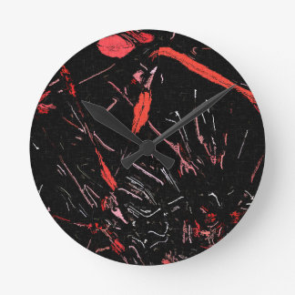Red paint splashes abstract stains grunge design wallclock