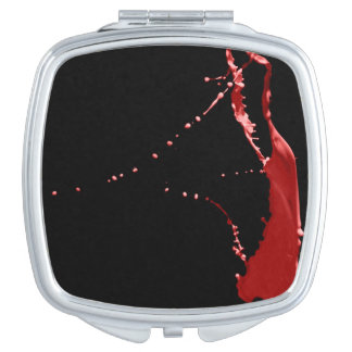 Red Paint Toss Square Compact Mirror
