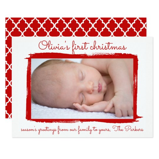 Red painted frame Baby's First Christmas Photo Card