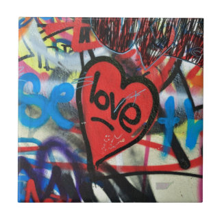 red painted heart love graffiti ceramic tile