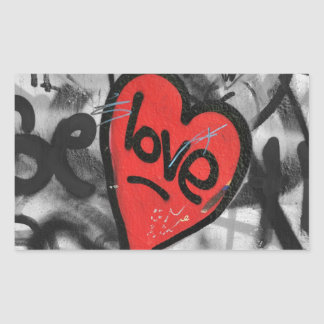 red painted heart rectangle sticker