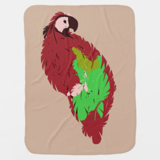 Red Painted Parrot Receiving Blankets