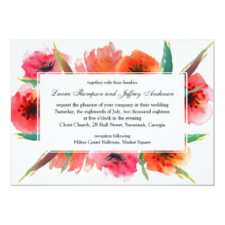 Red Painted Poppies Floral Wedding Card