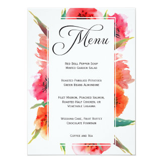 Red Painted Poppies Floral Wedding Menu Card