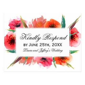 Red Painted Poppies Floral Wedding RSVP Postcard